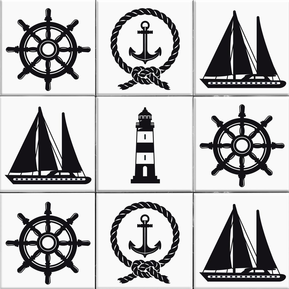 Nautica schwarz fliesenaufkleber set wand akzente for Fliesenaufkleber schwarz